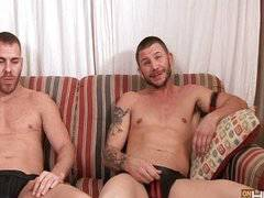 Two studs fuck a submissive young btm