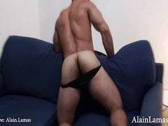 Muscle Hunk Strokes on Sofa