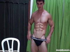 JockStrap Showing Muscled Cock Explosion