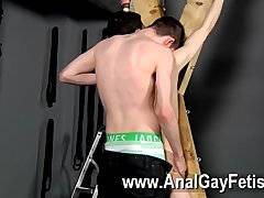 Sexy gay Victim Aaron gets a whipping, then