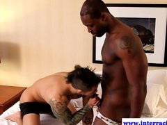 Ebony jock amateur getting blown by white guy