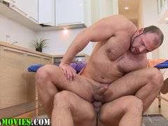 Chubby straighty sucks bears cock