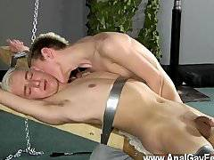 Gay fuck Dean gets tickled, molten paraffin