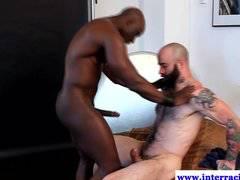 Ebony muscled jock interracial anal fucked