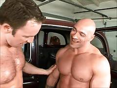 Three  Muscular Car Mechanics Fucked Bareback
