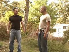 Two guys outside