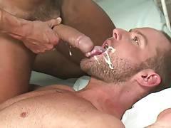 Cum on beard, then lick it clean