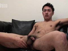 Hairy Muscle man squirts his urine and semen