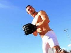 Gayroom horny baseball players play with hard