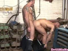 Beefy mechanic ass fucking helper
