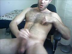 Hot hairy muscle stud rubs one out