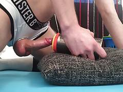 Hot Dude Fucking Fleshlight With Cockring And Tubesocks