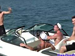 Gaysex hunk blows his load on a boat