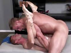 Sexy blond giant barebacks cute little ginger