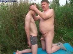 Fat old gay freting dick in forest