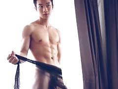 Asian Jock poses, wanks