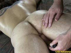 Muscular straight guy rimmed by buddy