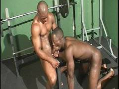 Big Black Muscle sucking Friend at the gym