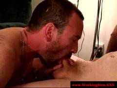 Straight mature bear try cock sucking