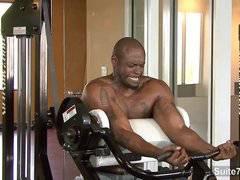 Hot black jock Diesel Washington fuck in gym