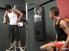 Seductive gay jocks fucking in the gym