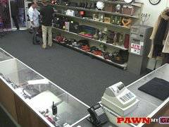 Hardcore threesome workout in the pawnshop