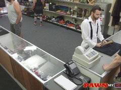 Pawn customer sucks cock in shop and fucks