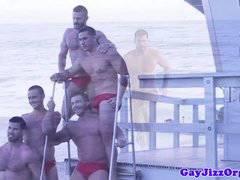 Bukkake beach bears cum covering