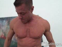 HD GayRoom - Travis gets massaged by guy