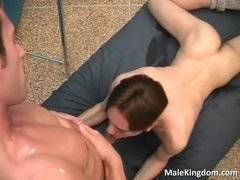 Filthy gay is sucking a massive cock