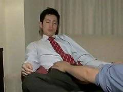 asian student gets edged, milked by gay