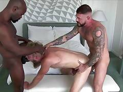 Big-dicked interracial daddies share blond hunk