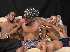 Two black studs fuck bottom raw in threesome