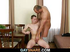 He is fucked by strong gay man