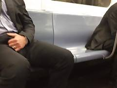 Str8 men bulge in metro