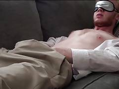 str8 men jerk in the sofa with a mask