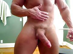 Str8 bodybuilder massive flexing & huge cock