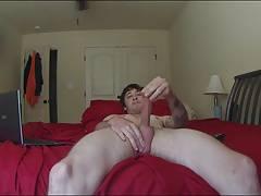 Str8 men stroke watching porn on parents bed