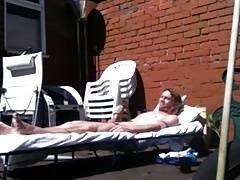 Str8 men stoke in backyard