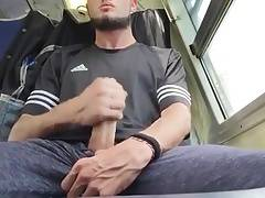 Jerking and cumming in a train