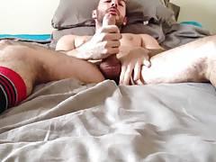 Str8 guy stroke & cun on the bed