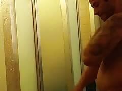Str8 latin guy in gym shower