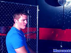 Partying hunk drills ripped jock