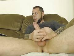 Str8 tattoo men stroke on couch