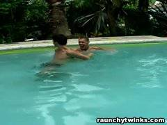 Aiden and Donavan's pool blowjob