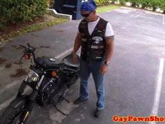 Mature biker facialized in a gaysex cash deal