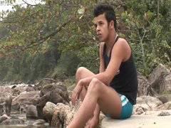 Bareback latinos on the beach