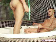 Dominant muscle assfucking bottom in bathroom