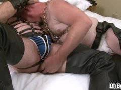 Gay bears in leather fucks bareback anal