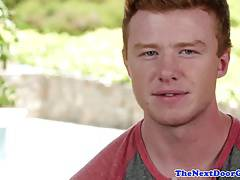 Freckled ginger stud in solo masturbation